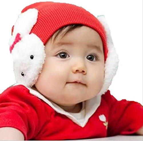 聖夜スタイル♪ ベビー&キッズ 【 ふかふか サンタ ニット 帽子 】スタイル 3種類!! / ケープ / ウサちゃん 耳付き / クリスマス パーティー に (1.うさちゃん耳カバーニット)