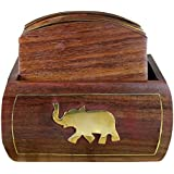 Wooden Carved Tea Coaster -Set Of 6 Plate With Stand For Dining Table Serving Office -Elephant Inlay Design -4...
