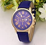 選べる 5 色 おしゃれ 腕時計 ウォッチ ユニセックス メンズ レディース かっこいい かわいい スーツ に 似合う (ブルー)