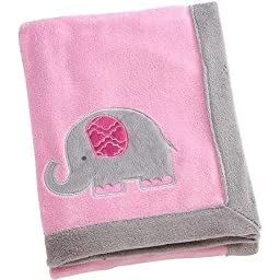 Elephant Time Pink Coral Blanket