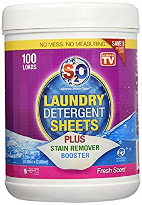 S2O Laundry Detergent Sheets Plus Stain Remover Booster