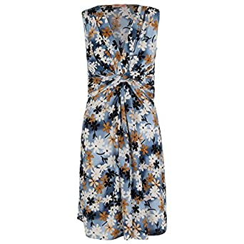 Twisted Front Floral Dress (8,Blue)
