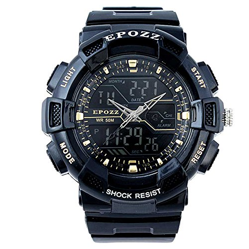 Epozz Outdoor Dual Display Digital Rubber Band Wrist Watch Waterproof Black GOLD (Imperious Camo compare prices)