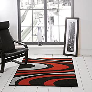 Flair Rugs Orleans Honesty Hand Carved Rug, Black/Red, 120 x 170 Cm by Flair Rugs