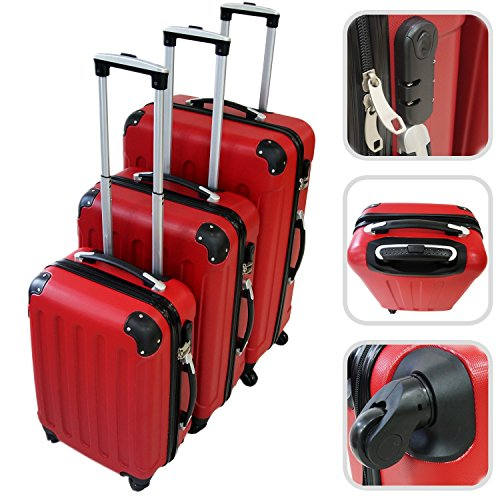 Set da 3 valigie Trolley rosse - Valigie a rotelle con sicurezza