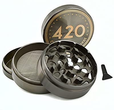 420CARIBBEAN Premium Herb Grinder | Large 2.5 inch 4-Piece Grinder with Pollen Catcher | Includes Scraper, Storage Bag and Gift Box from 420Caribbean.com