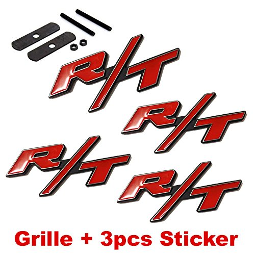 4pcs B177 Red RT R/T Grille + 3pcs Emblem Decal Badge Sticker Dodge Charger Ram 1500 Challenger Jeep Grand Cherokee (R Emblem compare prices)