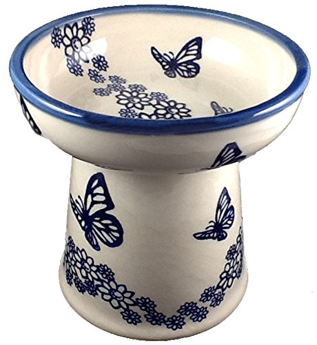 polish-pottery-cat-small-dog-raised-dry-food-dish-water-bowl-mot1-butterflies-navy-blue-on-cream