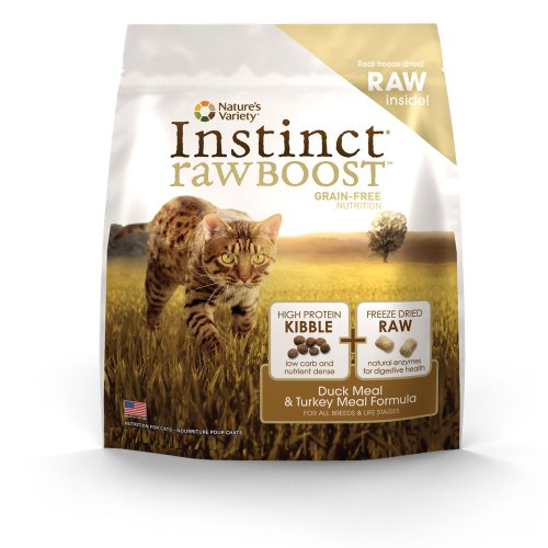 See Instinct Raw Boost Grain-Free Duck Meal and Turkey Meal Formula Dry Cat Food by Nature's Variety, 5.1-Pound Bag