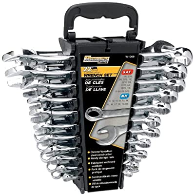 Performance Tool W1069 SAE/Metric Polished Combo Wrench Set, 22-Piece With Rack
