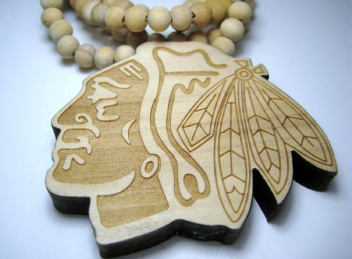 Natural Good Quality Wood Chicago Blackhawks Necklace