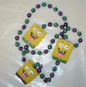 New Orleans Mardi Gras Beads Spongebob Squarepants Throw