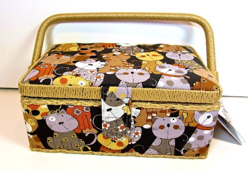 St.Jane Sewing Basket with Bonus Notions,dark Gray with Different Colored Cats,plastic Compartment Shelf,handle,9