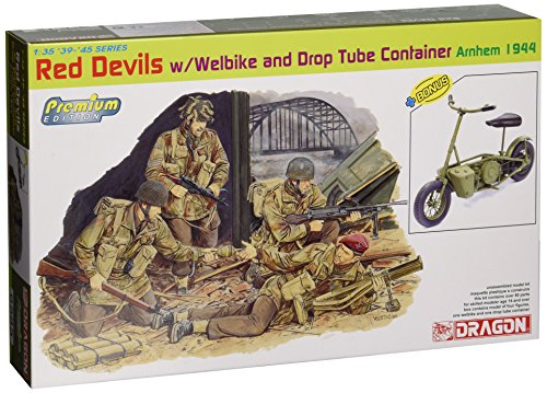 Dragon Models 1/35 Red Devils with Welbike and Drop Tube Container, Arnhem 1944 (4 Figures Set with Bike) - Premium Edition