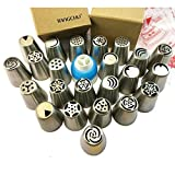 TANGCHU Russian Piping Tips 23PCS/SET Stainless Steel Large Size Icing Syringe Set DIY Coupler Nozzle (Color: Silver, Tamaño: 23pcs)