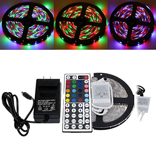 S6Store® 5M/Roll (Rgb) 300 Leds Smd 3528 Flexible Led Strip Light With 44Keys Ir Remote For Car Home Decoration And 2A 12V Transformer