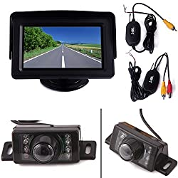 HDE Wireless Reverse Parking System Blind Spot Cam Kit Rear View License Plate Backup Camera 4.3 LCD Color Monitor