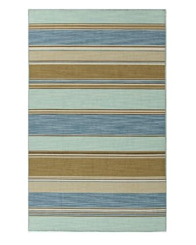 Jaipur Rugs Flat-Weave Striped Wool Rug  [Blue/Tan]