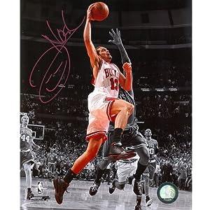 Joakim Noah Autographed Chicago Bulls (Spotlight Dunk vs Celtics) 8x10 Photo by PalmBeachAutographs.com