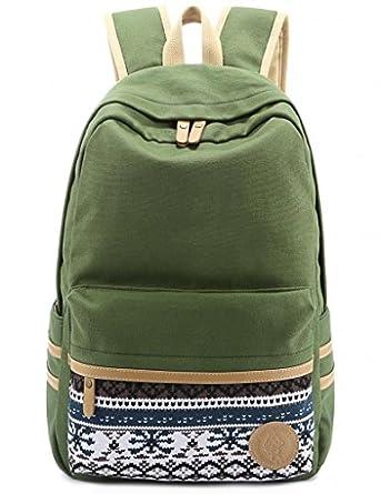 Leaper Causal Style Lightweight Canvas Laptop Bag/Cute backpacks/ Shoulder Bag/ School Backpack/ Travel Bag Green