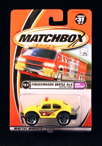 VOLKSWAGEN BEETLE 4x4 * YELLOW * Sand Blasters Series MATCHBOX 2000 Basic Die-Cast Vehicle (#31 of 75)
