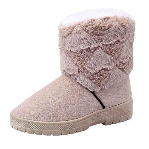 Scarpe da donna,Xinantime Moda Stivali Caviglia Piatto Inverno caldo Scarpe da neve Allacciare Scarpe (grigio, 37)