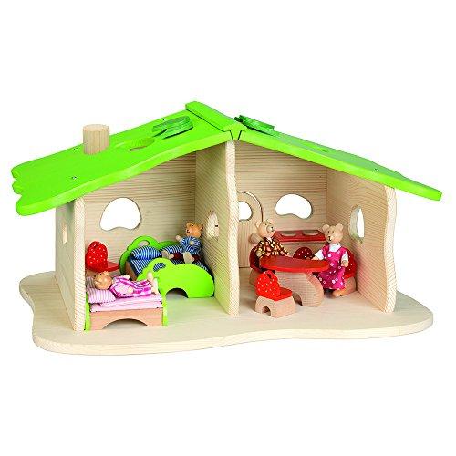 51751 - Puppenhaus Waldhaus mit Einrichtung und 4 Biegepuppen