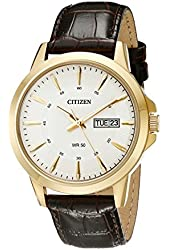 Citizen Men's BF2018-01A Gold-Tone Stainless Steel Watch with Brown Leather Band