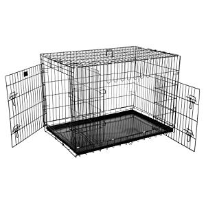 Pet Trex Premium Quality 42″ Folding Pet Crate Kennel Wire Cage for Dogs Cats or Rabbits