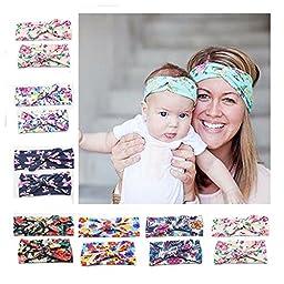 6set Baby and Mother Rabbit Ears knot elastic Turban Headband Cotton