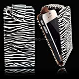 BLACK AND WHITE ZEBRA PRINT LEATHER FLIP CASE COVER POUCH FOR APPLE IPHONE 4S 4G