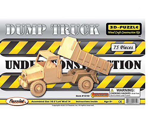 3-D Wooden Puzzle - Dump Truck -Affordable Gift for your Little One! Item #DCHI-WPZ-P026