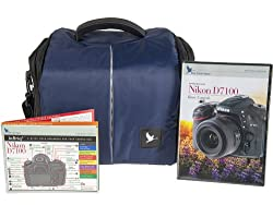 Blue Crane Digital Camera Bag Combo Pack for Nikon D7100 with Instructional DVD, Laminated Reference Card (BC653) (Blue)