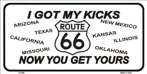 Smart Blonde Route 66 I Got MY Kicks Novelty Vanity Metal License Plate Tag Sign