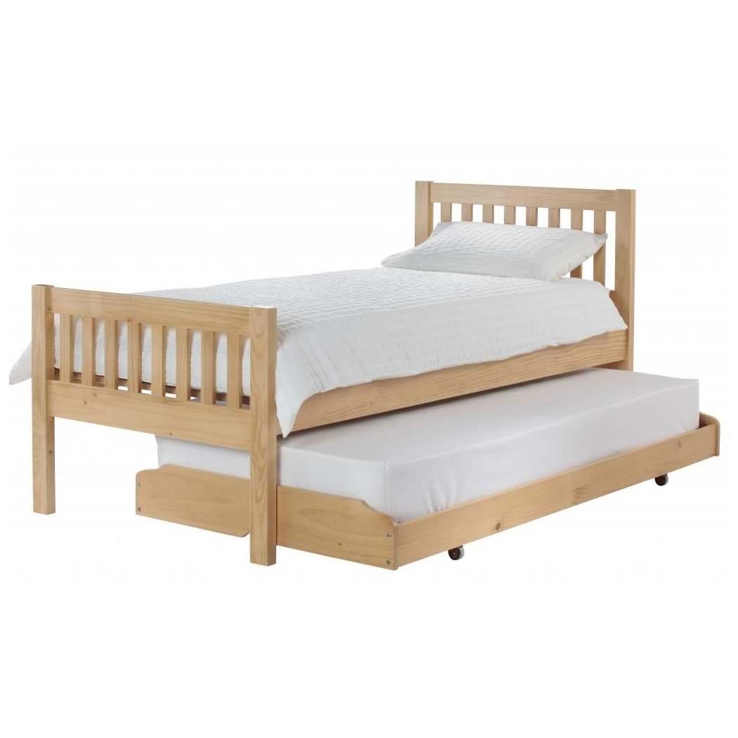Silentnight Hayes Wooden Guest Bed   3FT Single Bed Frame   Traditional Wooden Bed Base   Slatted Headboard and High Footend   Pine   Natural Finish   Sprung Slatted Base   Pull Out Bed Base       reviews and more information