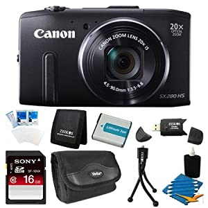 Canon PowerShot SX280 HS 12.1 MP CMOS Digital Camera with 20x Image Stabilized Zoom 25mm Wide-Angle Lens and 1080p Full-HD Video (Black) Super Bundle- Includes camera, 16 GB SDHC Memory Card, BP-6L Battery Pack, Carrying Case, SD USB Card Reader, Mini Tab