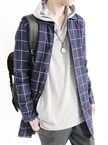 (モノマート) MONO-MART 綿麻 ストレッチ ステンカラーコート シングル コート ジャケット モード アウター デザイナーズ カラー メンズ ウィンドペンネイビー Lサイズ