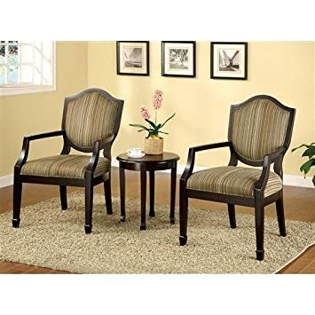 Mwave IDF-AC6026-3PK Bernetta 3-Piece Accent Chairs and Table Set, Material: Wood, wood veneers, fabric, foam padding, Finish: Espresso