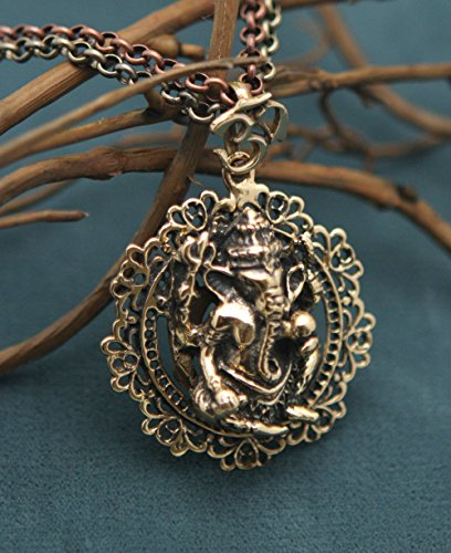 Large Bronze Om Ganesh Pendant Necklace