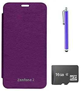 TBZ Flip Cover Case for Asus Zenfone 2? with Stylus and 16GB MicroSD -Purple