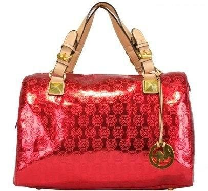 MICHAEL Michael Kors Grayson Large Jet Set Monogram Satchels Red