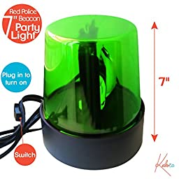 Flashing Novelty Police Beacon-7\'\' (Green) - Rotating Strobe Light (Great For Disco Lights For Parties, DJ, And Kids) With A 6A/120VAC Power Cord-Kidsco