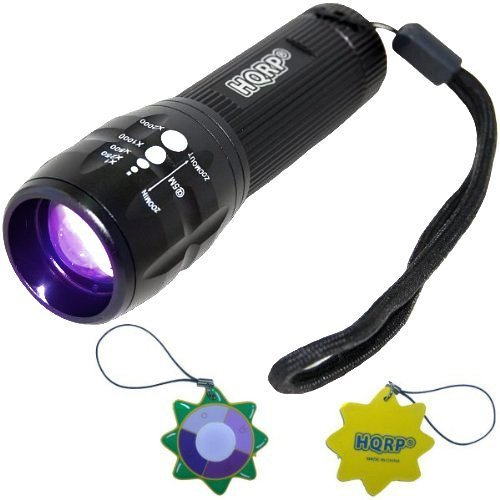 Hqrp Profesional Uv Flashlight With High Power 3W Led 390Nm Wavelenght With Variable Focus For Urine Detection / Inspection Plus Hqrp Uv Meter