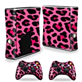 Protective Vinyl Skin Decal Cover for Microsoft Xbox 360 S Slim + 2 Controller Skins Sticker Skins Pink Leopard