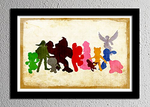 Nintendo All Stars Smash Brothers - Original Minimalist Art Poster Print (Smash Brothers Poster compare prices)