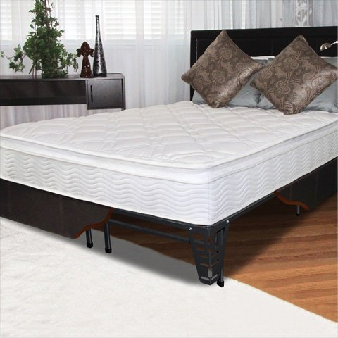 "10"" Pillow Top Spring Mattress And Steel Foundation Set Size: King"