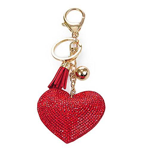 YOKIRIN Porte-clés Design Original Ornement de Cœur avec Strass Bling - Rouge