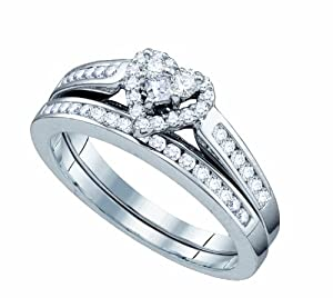 Ladies 10K White Gold 0.50 Ct. Round Diamond Heart Engagement Ring Wedding Bridal Set from Rodeo Jewels Co