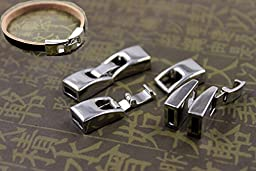 10 Sets Integral Clasps Jewelry Finding Clasps End Clasps Buckle Clasps Silver Tone For Leather Cords Bracelets Making 5mmX2mm