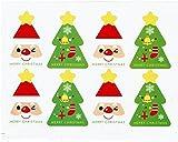 【Fuwari】 クリスマス シール ステッカー ( 8枚 X 5シート)  小分け ラッピング 装飾 飾り プレゼント 用  (①)